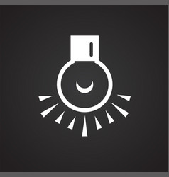 Dark room bulb icon on black background for vector