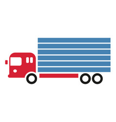 delivery truck simple art geometric vector image