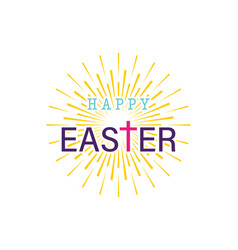easter handwriting happy easter with cross and vector image