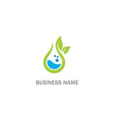 Eco green leaf water bio logo vector