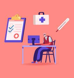 Ehr electronic health record senior patient vector