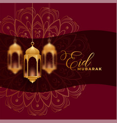 Eid mubarak background with 3d hanging lamps vector