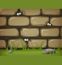 Eyes inside rural stone wall vector