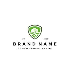 Farm shield logo design concept vector