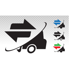 Fast shipping delivery truck package flat icons vector