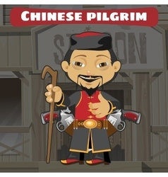 Fictional cartoon character - chinese pilgrim vector image