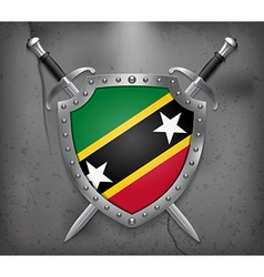 Flag of Saint Kitts and Nevis The Shield Has Flag vector