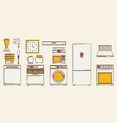 flat icons for kitchen appliances set of gray vector image
