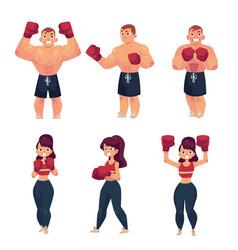 Flat muscular althlete boxer woman vector