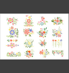 flat set of colorful floral compositions vector image