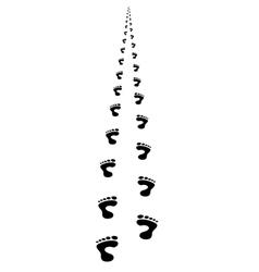 Foot steps walking away in perspective vector image
