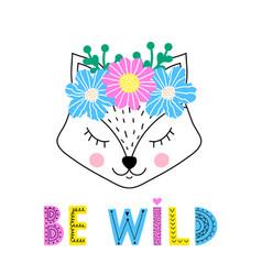 Fox with floral wreath vector