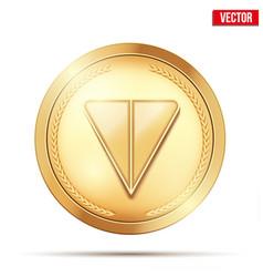 Gold crypto coin with ton sign vector