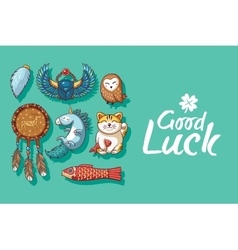 Good Luck Cute hand drawn card with lucky charms vector