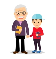 Grandfather and grandson reading books vector