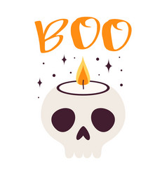 halloween card with funny skull candle vector image