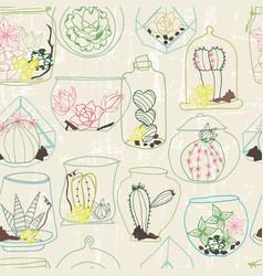 Hand drawn colorful line art terrarium collection vector