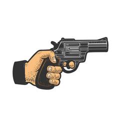 Hand with gun pistol sketch vector