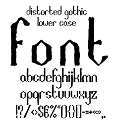 Handwritten black distorted gothic lower case vector