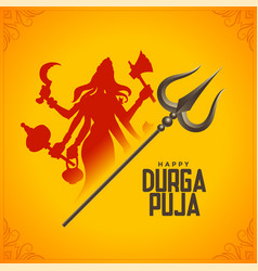 Happy durga pooja mythology festival card design vector