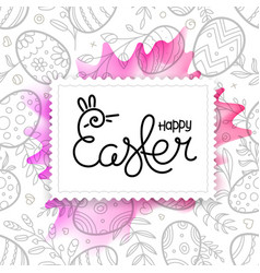 happy easter greeting card easter frame with vector image