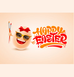 happy easter greeting with funny easter egg vector image