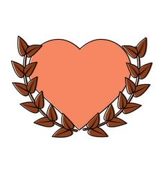 Heart cartoon emblem with laurel wreath valentines vector