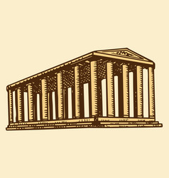 historical building with columns seven wonders vector image