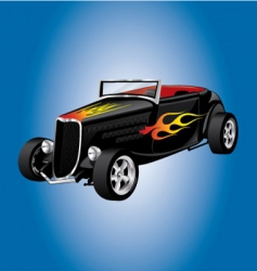 Hot rod car with flames vector