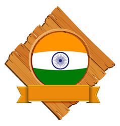 India flag on wooden board vector