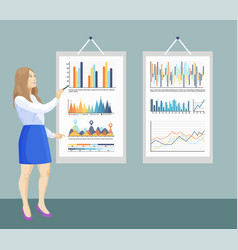 infographic and flowcharts on board presentation vector image