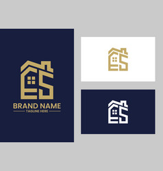 initial letter e and s with roreal estate vector image