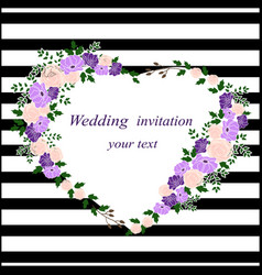 invitation card with a flower heart wedding vector image