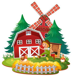 isolated barn and farming man vector image
