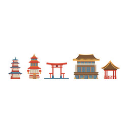 japanese and chinese architecture and exteriors vector image