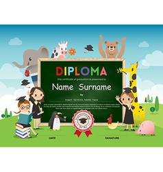 Kids Diploma certificate with animal cartoon vector image