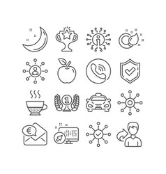 Laureate award taxi and networking icons vector