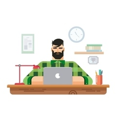 Man at a desk in front of laptop vector