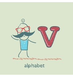 man standing with a letter of the alphabet vector image