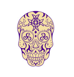 mexican skull with triskele and celtic cross vector image