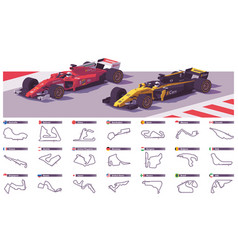 Motor racing tracks vector