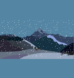 mountains with falling snow vector image