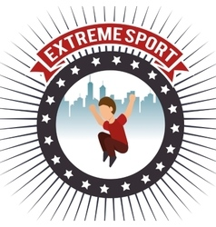 parkour extreme sport urban background label vector image