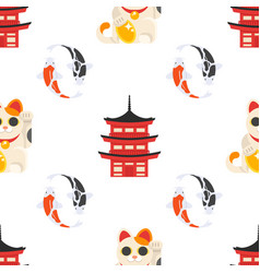 pattern with japanese traditional symbols vector image