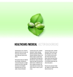 Pills isolated on green background vector image