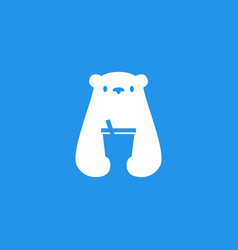 Polar bear drink cup logo icon vector