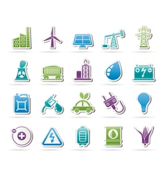 Power energy and electricity source icons vector