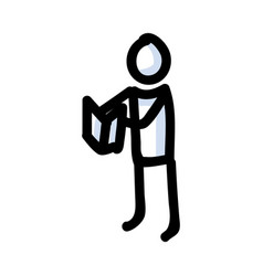 Reading stick figure person holding book hand vector