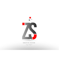 red grey alphabet letter zs z s logo combination vector image