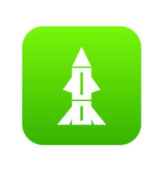 Rocket technology icon green vector